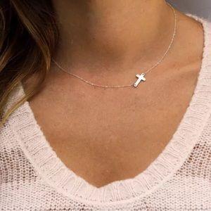 Silver Cross Necklace Sideways